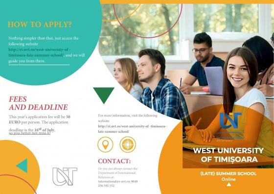 Universitatea de Vest din Timișoara anunță Școala de Vară 2021!